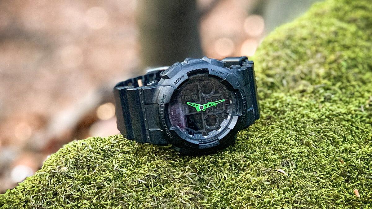 Matt Casio G-Shock GA-100-1A3 karóra zöld mutatókkal
