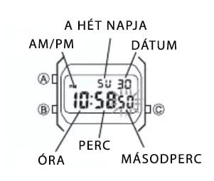 Casio Vintage óra - alapképernyő
