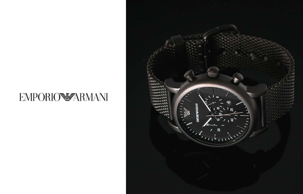 Férfi Emporio Armani óra elegáns fekete színben