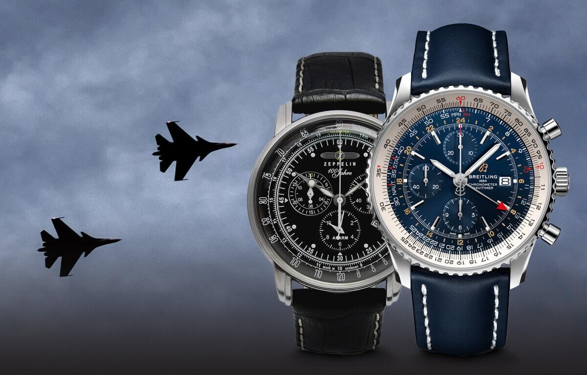 Összeválogattunk a legismertebb pilóta órák márkáit - a Longines, a Breitling, a Zeppelin, és a Vostok Europe márkát